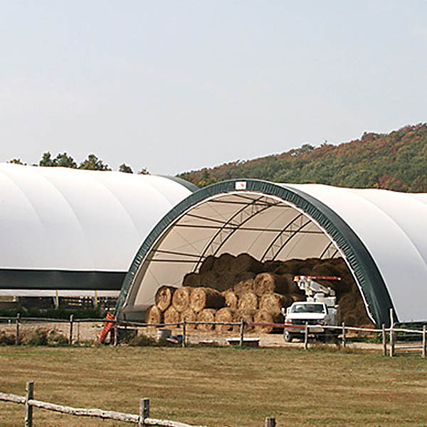 Warehouse tents for hay bales