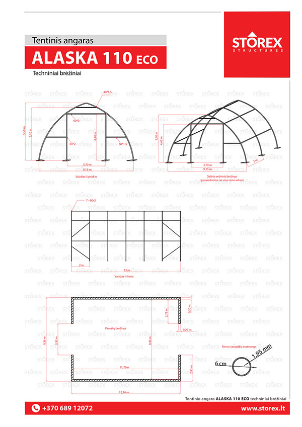 Technical drawings of tent hangar 110 ECO