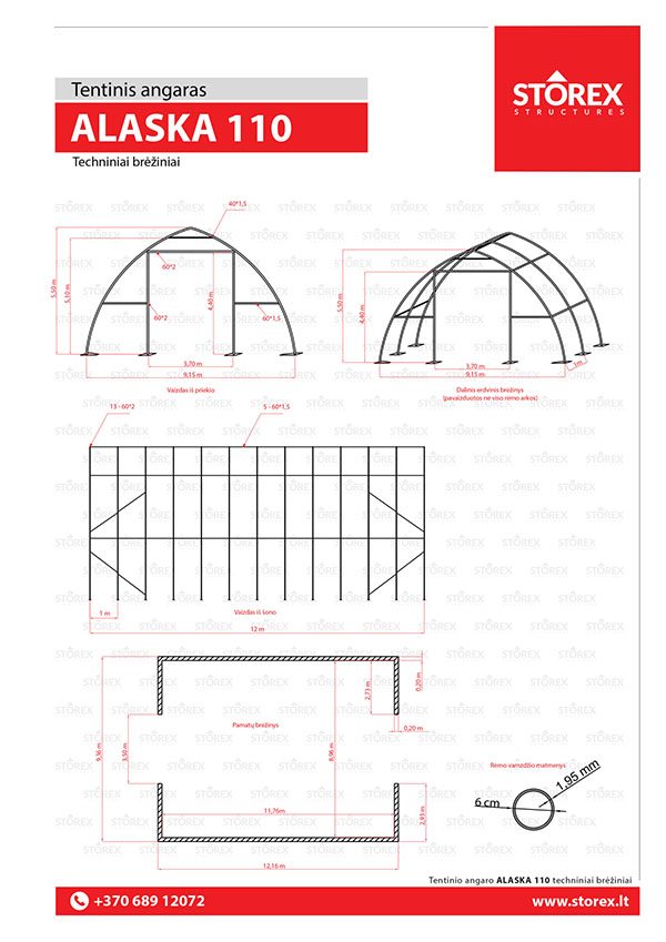 Technical drawings of tent hangar Alaska 110