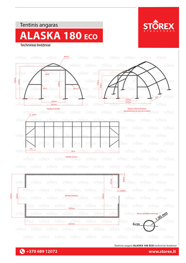 Technical drawings of tent hangar Alaska 180 ECO