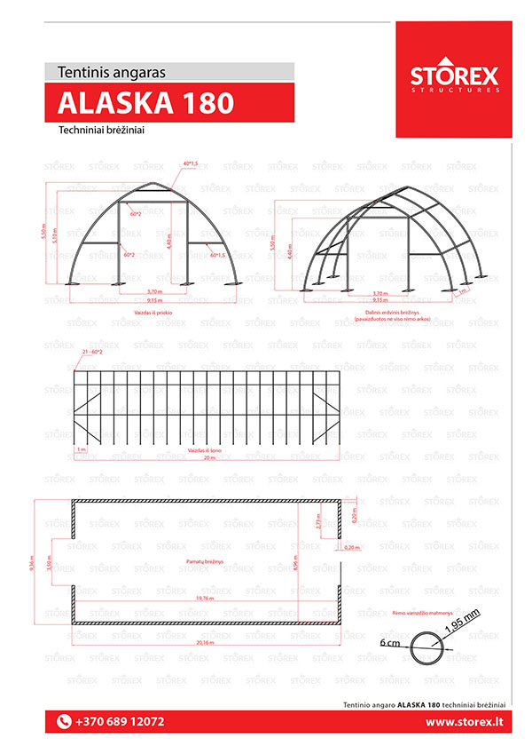 Technical drawings of tent hangar Alaska 180