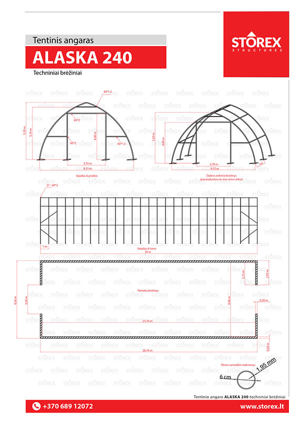 Technical drawings of tent hangar Alaska 240
