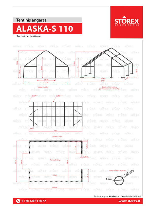 Technical drawings of tent hangar Alaska-S 110