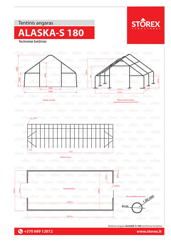 Technical drawings of tent hangar Alaska-S 180