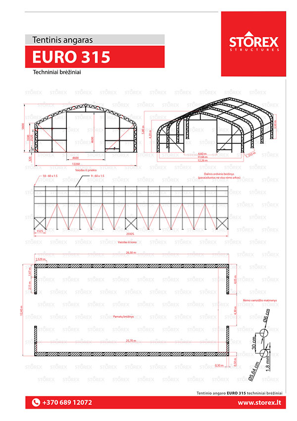 Technical drawings of tent hangar EURO 315