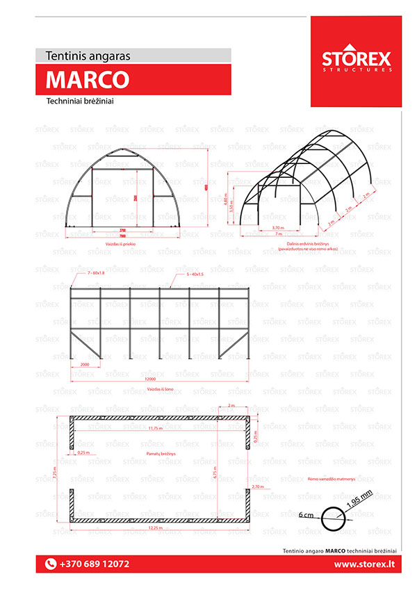 Technical drawings of tent hangar MARCO