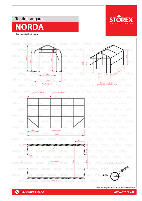 Technical drawings of tent hangar NORDA