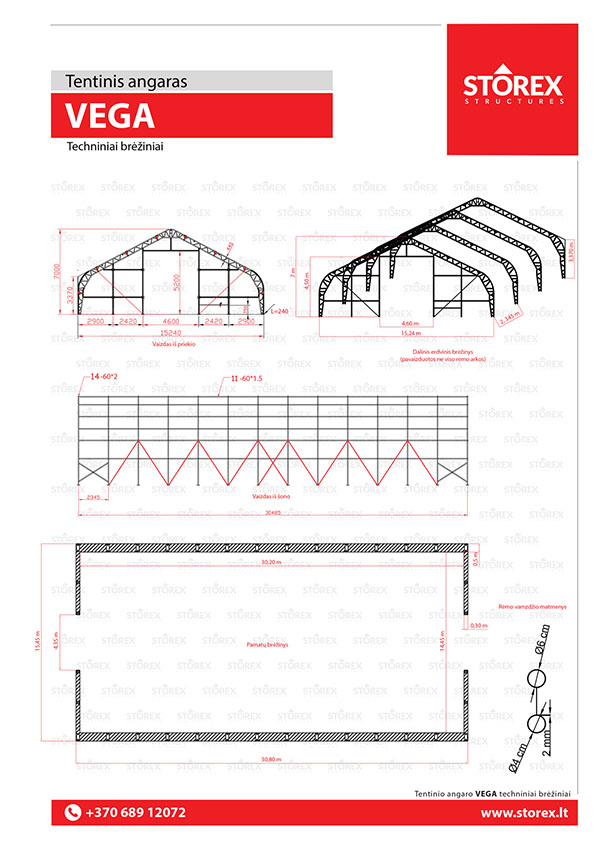 Technical drawings of tent hangar VEGA