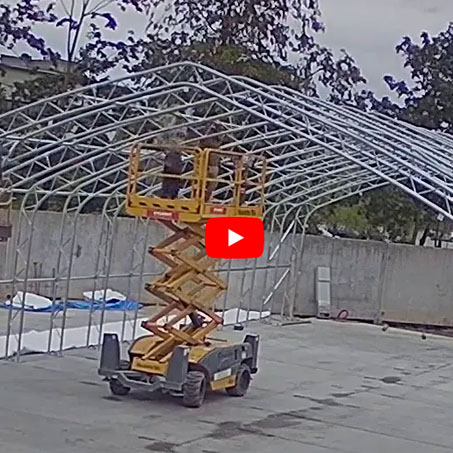 assembly of tent hangars