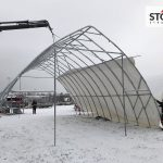 Attaching tent roof for storage shelter